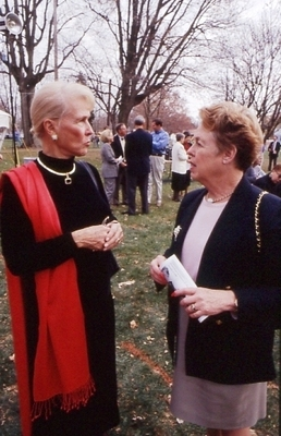 "Joyce ""Jay"" Eichhorn Ames '49 and Bloomington Mayor Judy Markowitz"
