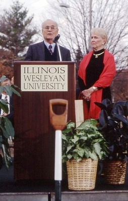 B. Charles Ames and Joyce Eichhorn Ames speak at Ground Breaking.