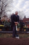 Charles Ames breaks ground at new library site.