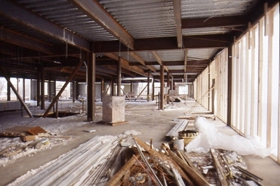 Interior view of new building construction.