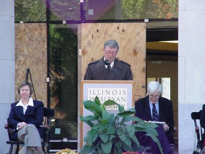 Board of Trustees President Craig C. Hart speaking at Dedication Ceremony