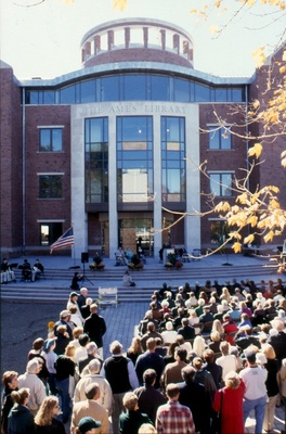 Veiw of the Dedication Ceremony from The Ames Library plaza.