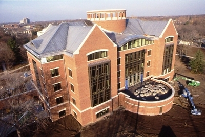 Arial photograph of the Ames Library.