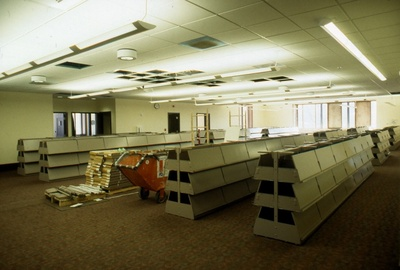 Installation of current periodicals shelving.