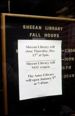 A sign marks the closing of Sheean Library.