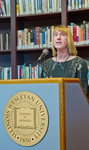 University Librarian Karen Schmidt speaking at the Ames Library 10th Anniversary Reception.