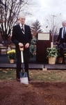 Former University President Lloyd M. Bertholf (1958-1968) breaking ground for the new library.