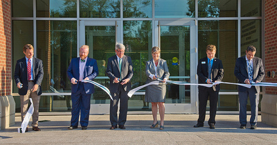 Ribbon cutting ceremony for the new campus classroom building, State Farm Hall.