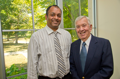 Professor of Chemistry Ram Mohan and retired professor Wendell Hess in State Farm Hall.
