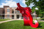 Outdoor sculptures arrive on campus.